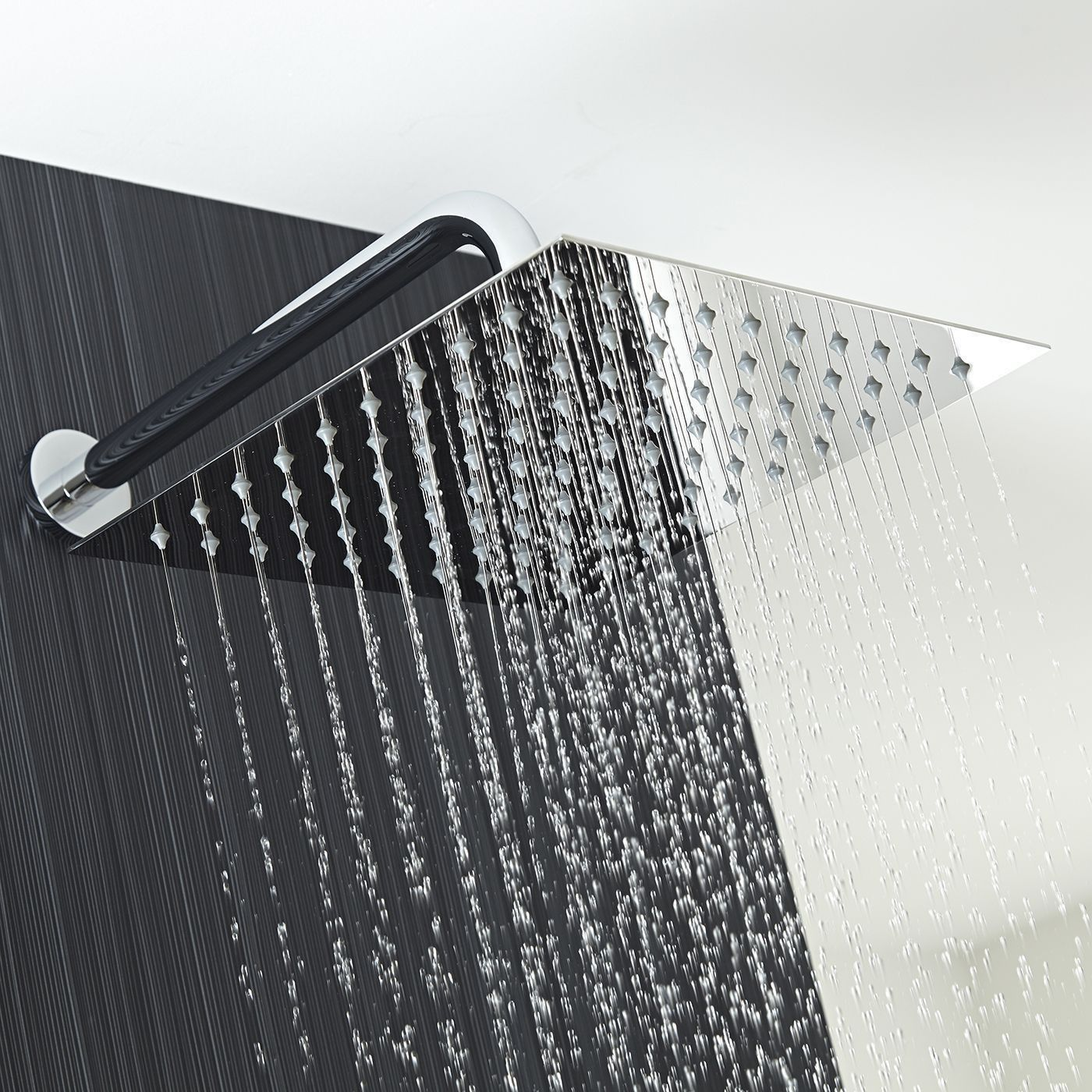 Valquest 12 Square Thin Shower Head With Wall Arm Fixed Shower