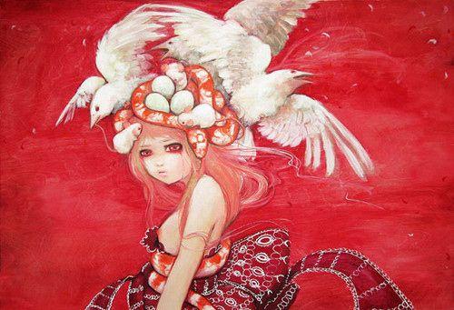 животные, птицы, девушка, аниме, рисунок, сюрреализм ...