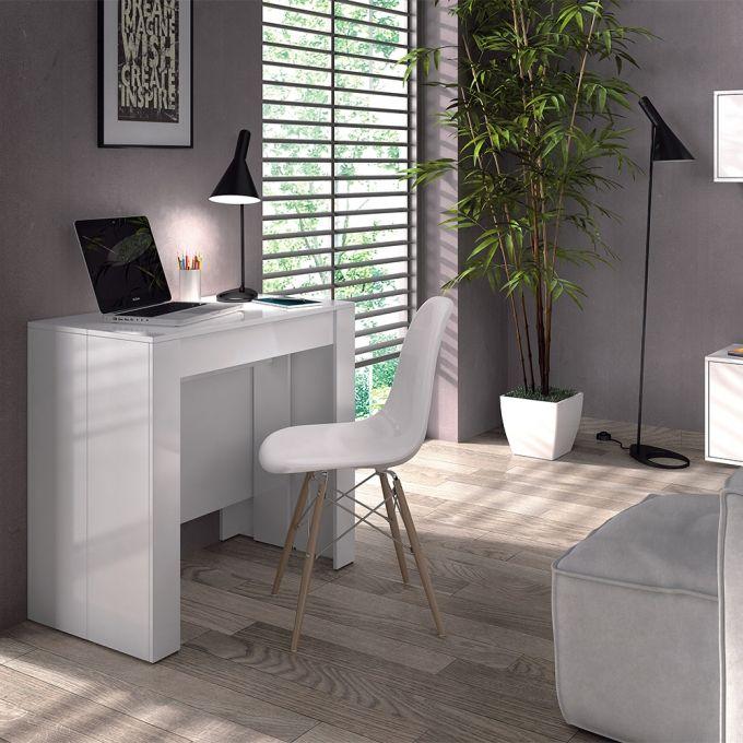 Mesa consola extensible kendra color blanco con for Ofertas de sillas de oficina en carrefour