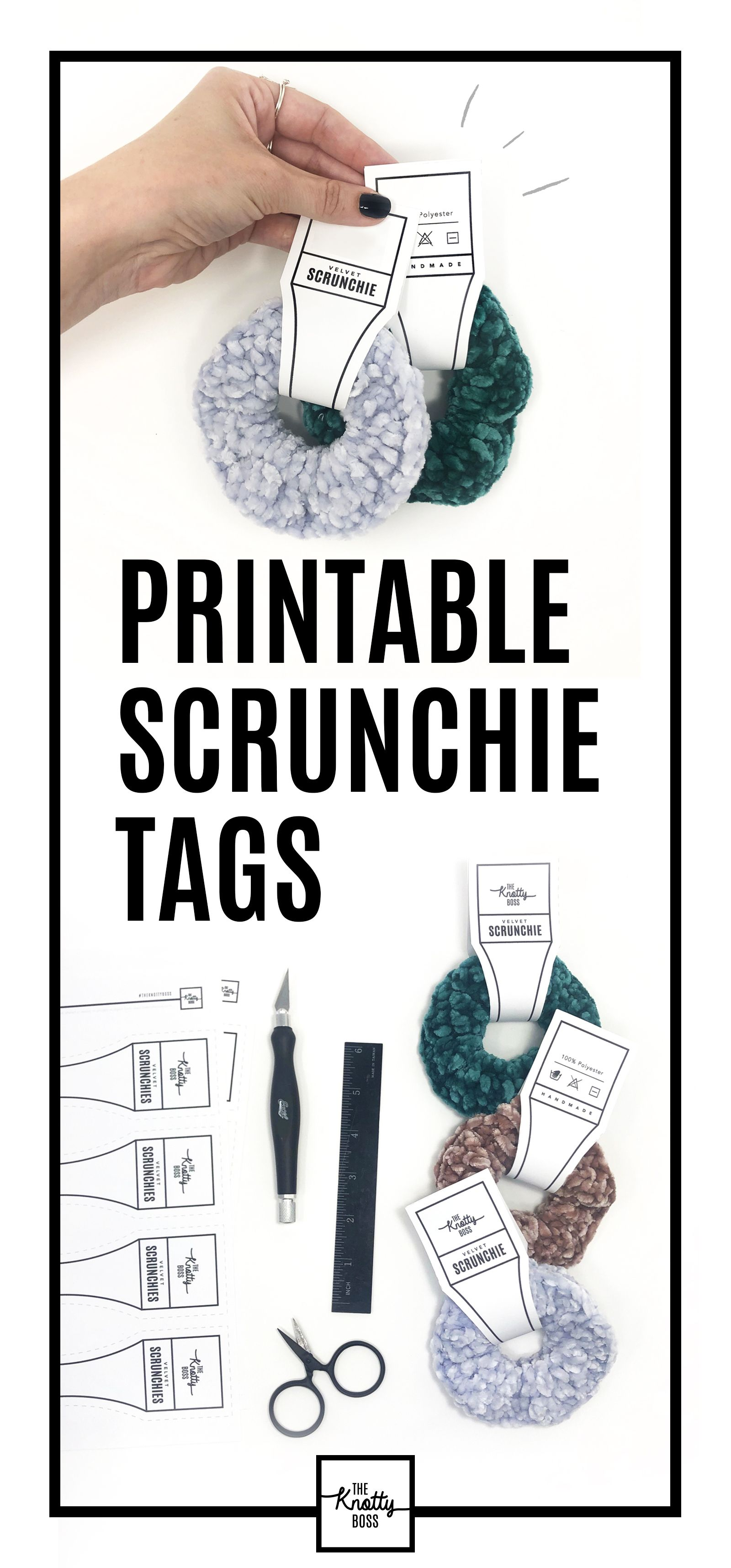Printable PDF tags for Handmade Scrunchies