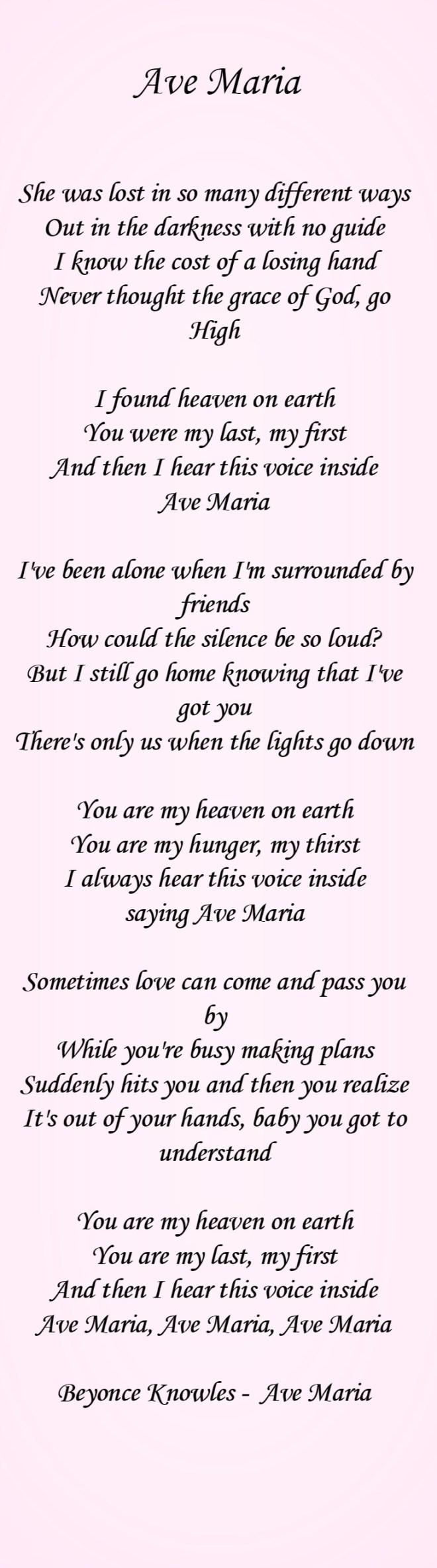 Ave maria lyrics for pinterest for House music lyrics