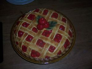 Vintage Ceramic Cherry Pie Plate Dish with Lid with Lattice Pie crust \u0026 Cherries & Vintage-Ceramic-Cherry-Pie-Plate-Dish-with-Lid-with-Lattice-Pie ...