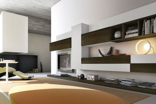 Moderne wohnwand aus holz pro622626 pescarollo industria for Industria mobili