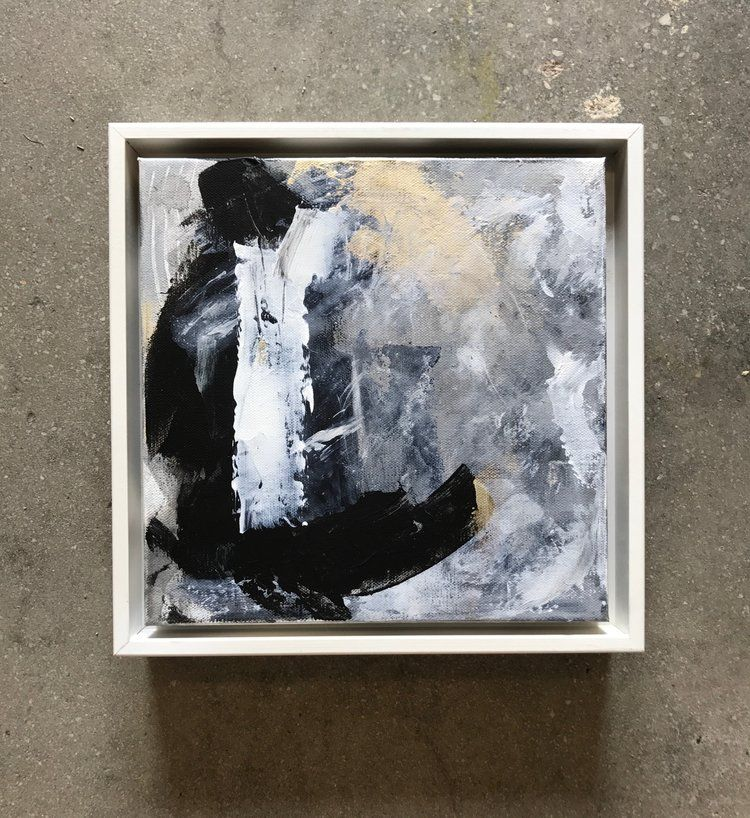 Square Abstract Painting Framed With White Floater Frame Contemporary Design Using Black White And Gold Abstract Painting Contemporary Abstract Painting