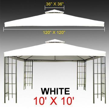 10 X 10 Gazebo Replacement Canopy Top Cover White Color Double Teir By Gh 47 99 10 X 10 Canopy Co Gazebo Replacement Canopy Replacement Canopy Gazebo