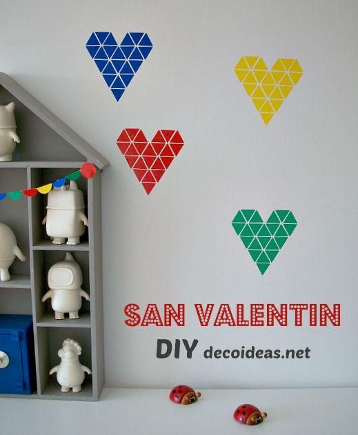 Diy corazones adhesivos f ciles de hacer decoraci n hogar - Manualidades hogar decoracion ...