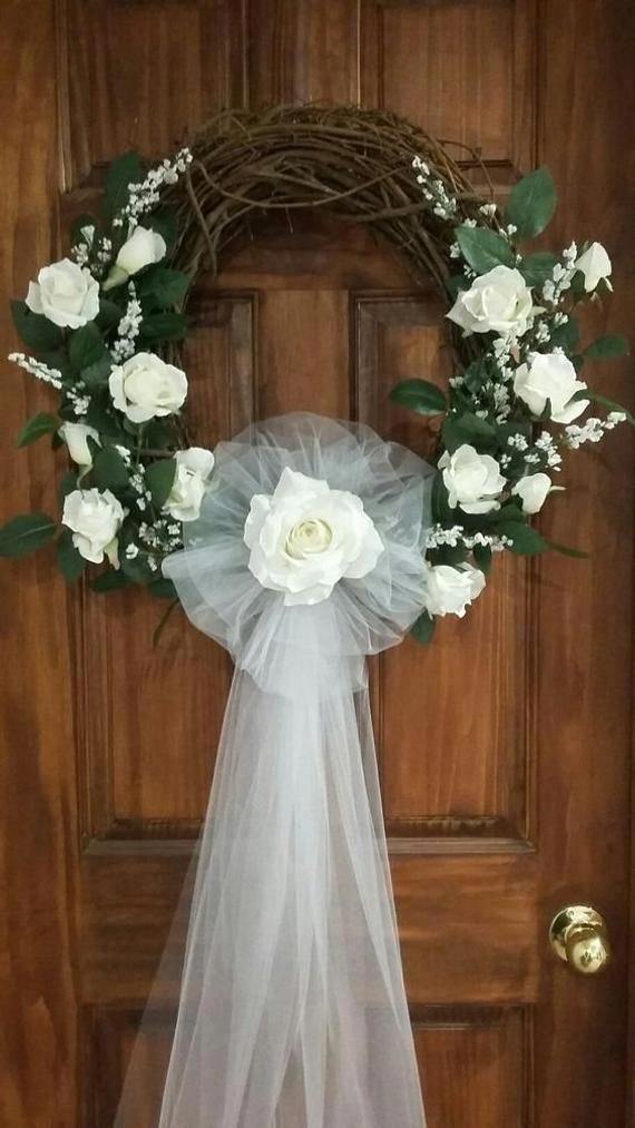 Photo of This item is unavailable :  Wedding Grapevine Wreath Wall or Door Hanging with W…