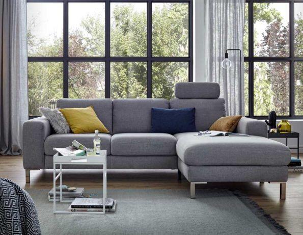 Global Sofa 7150 Ecksofa in Stoff grau mit Sitztiefenverstellung