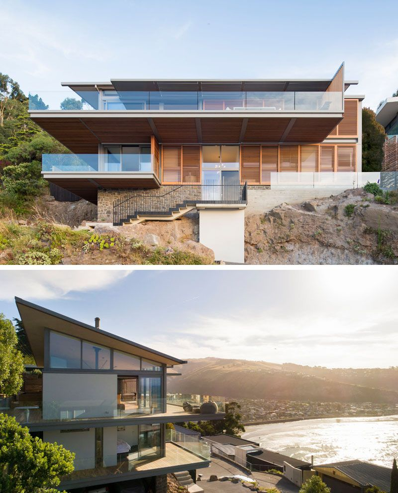 This Hillside Home In New Zealand Was Designed To Capture The Amazing Ocean Views Hillside House Modern House Plans Sloping Lot House Plan