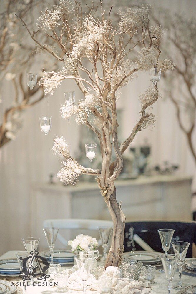 Baby s breath manzanita tree centerpiece yelp wedding