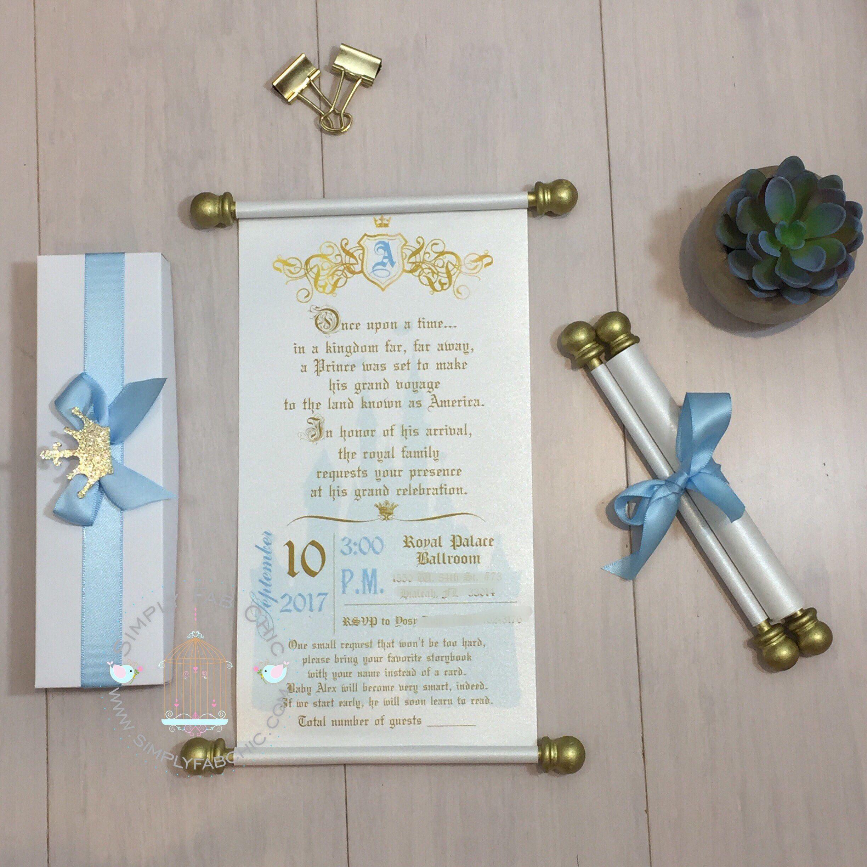 Light Blue Prince Scroll Invitation Birthday Wedding | party ideas ...