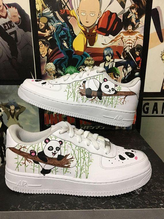 outlet store e4ba0 838c3 Custom Nike Air Force one, panda,panda bamboo,custom sneakers , custom  shoes , custom nike ,custom k