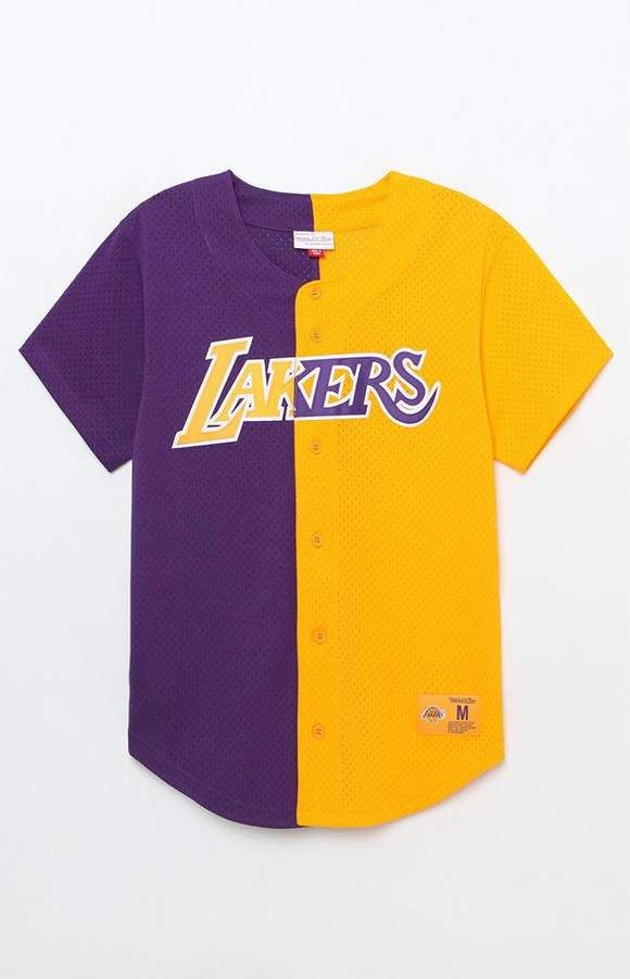 separation shoes ff91c 72cc8 Mitchell & Ness Los Angeles Lakers Baseball Jersey ...