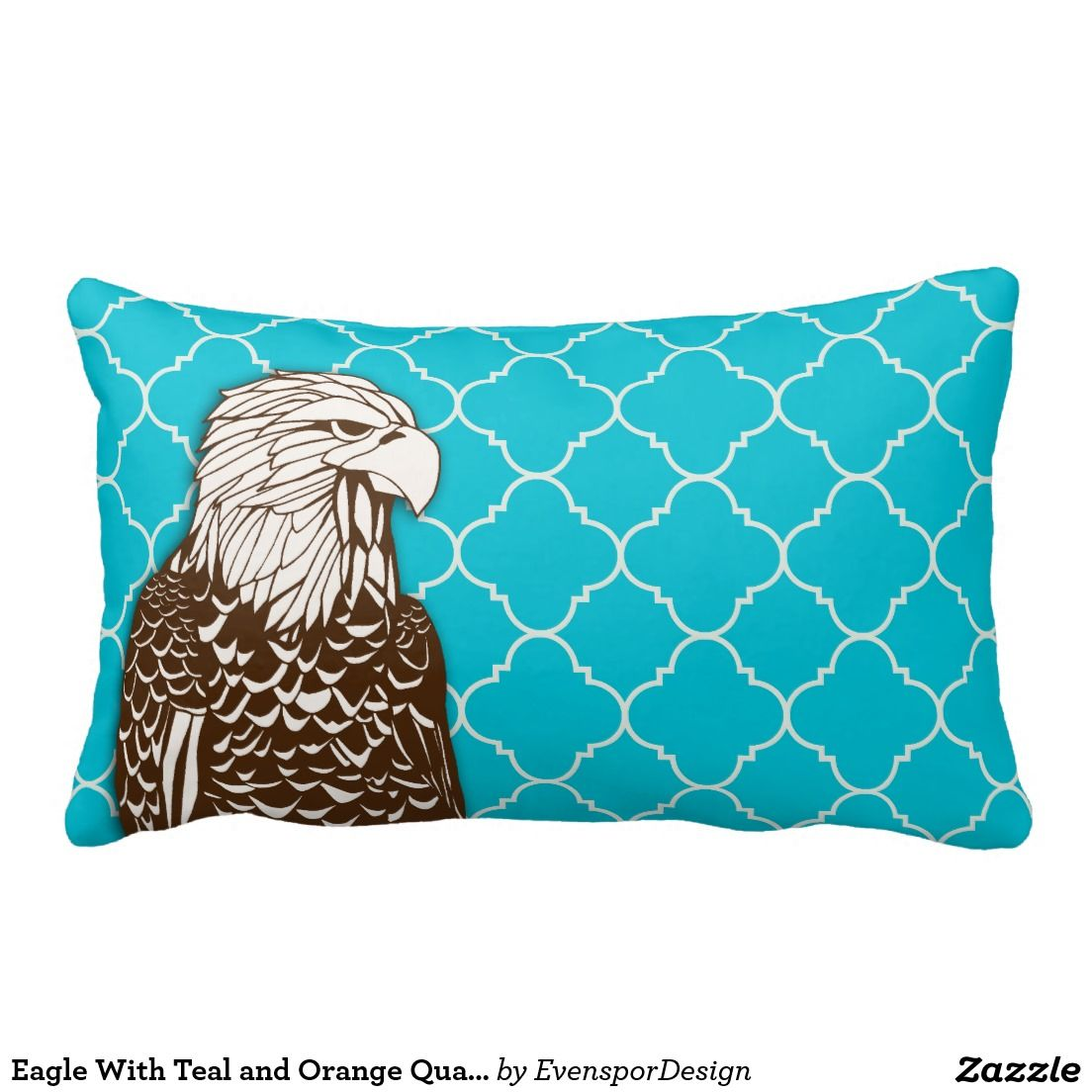 Eagle With Teal and Orange Quatrefoils Throw Pillows