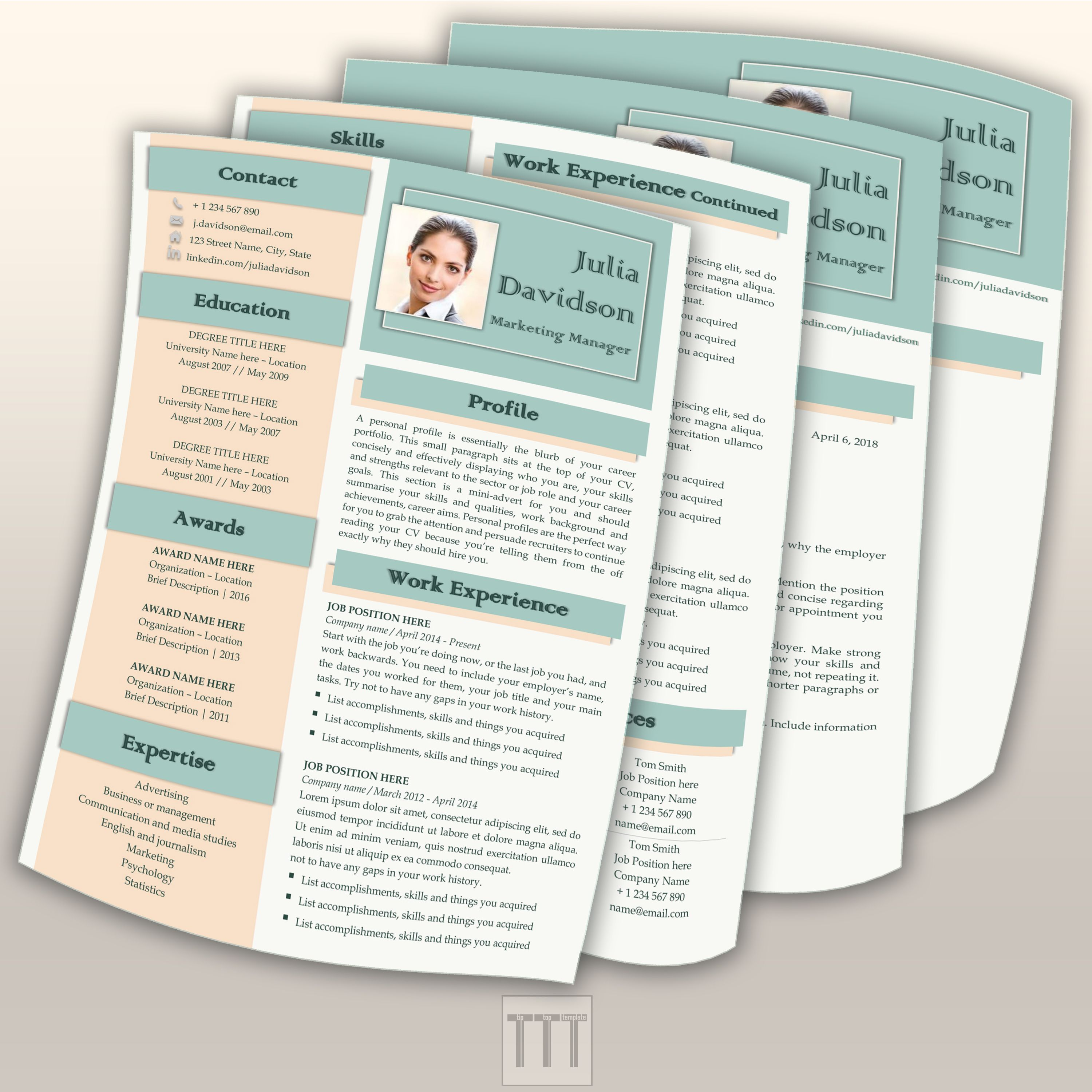 business resume template bundle by tiptoptemplate creative resume template  creative r