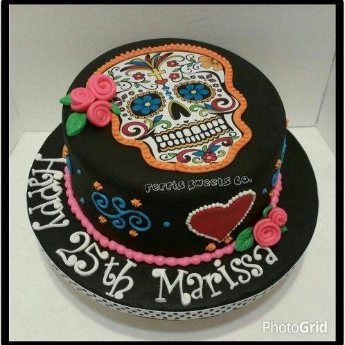 Awe Inspiring Calavera Sugar Skull Birthday Cake Fondant With Fondant Funny Birthday Cards Online Eattedamsfinfo