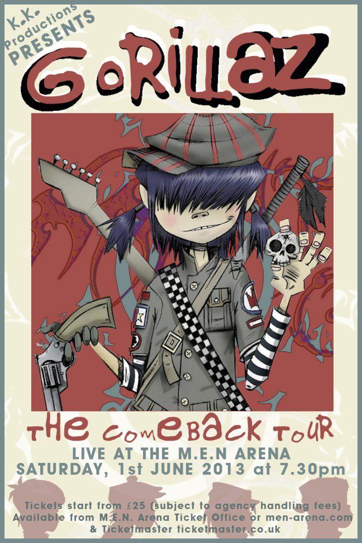To explore more similar hd image on pngitem. Gorillaz Gig Poster For M E N Arena June 2013 Retro Poster Gorillaz Poster Vintage Music Posters