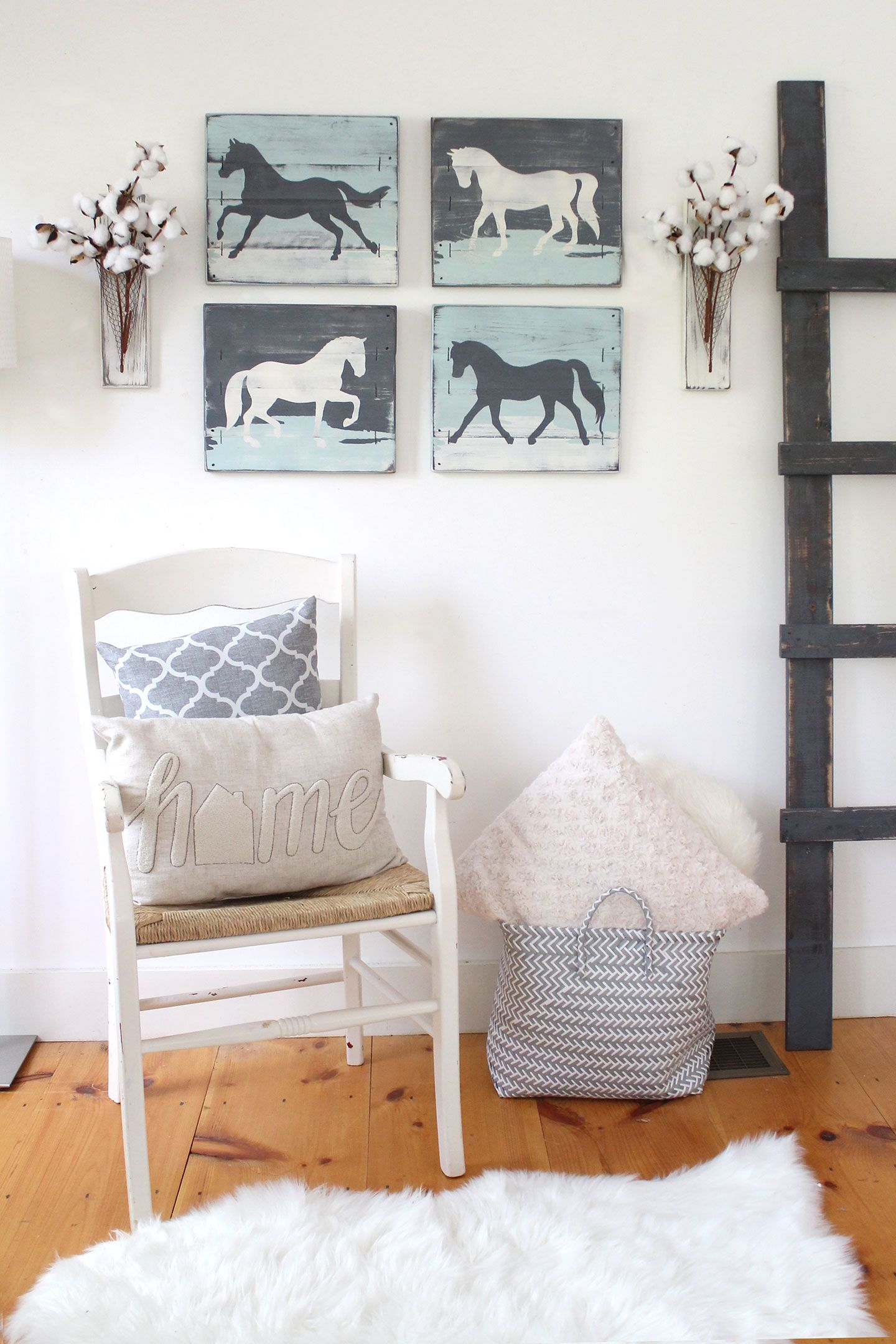 This Set Of 4 Rustic Horse Paintings Is The Perfect