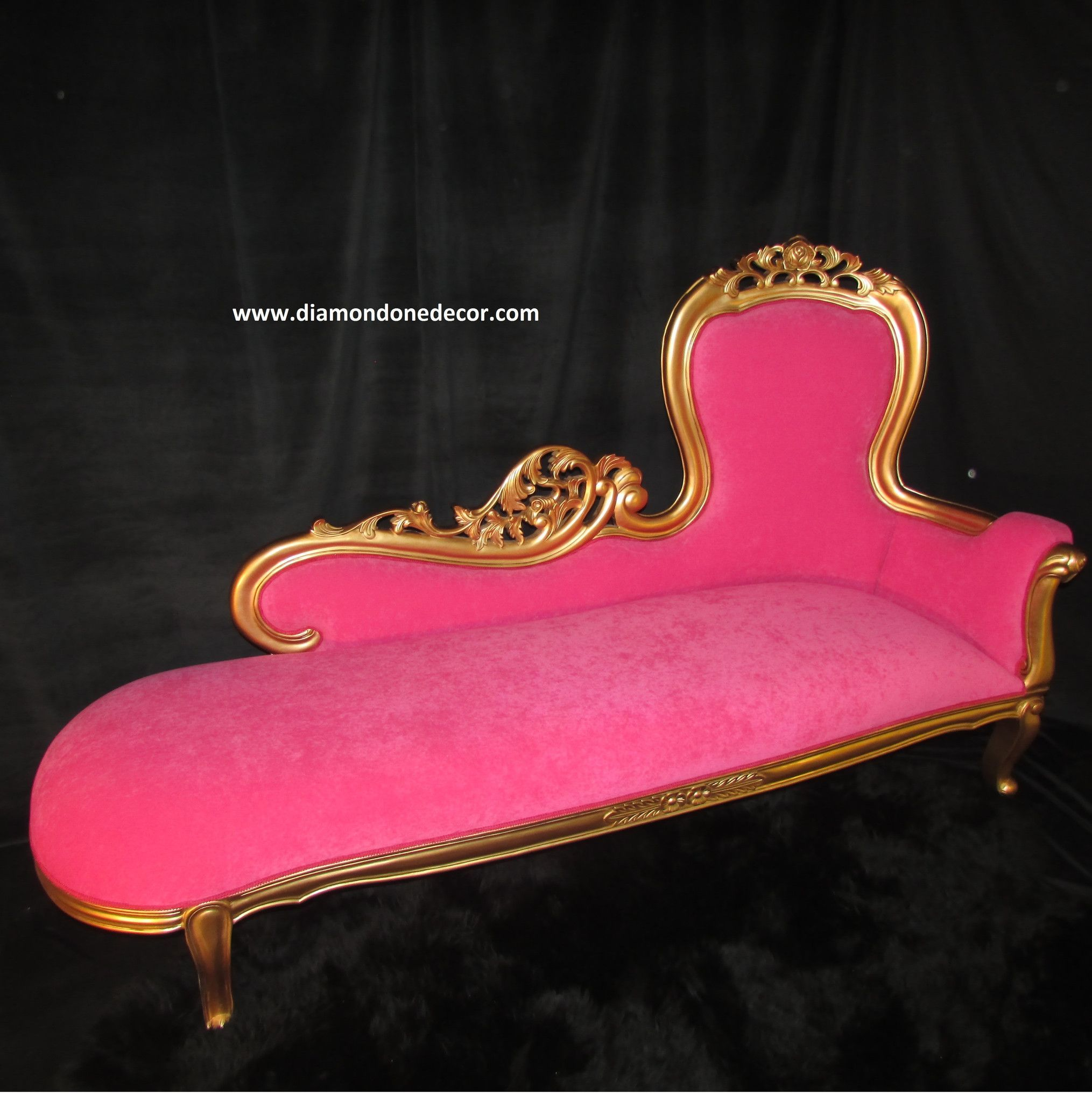 Hot pink baroque french reproduction louis xvi style rococo fainting couch or - Chaise style baroque ...