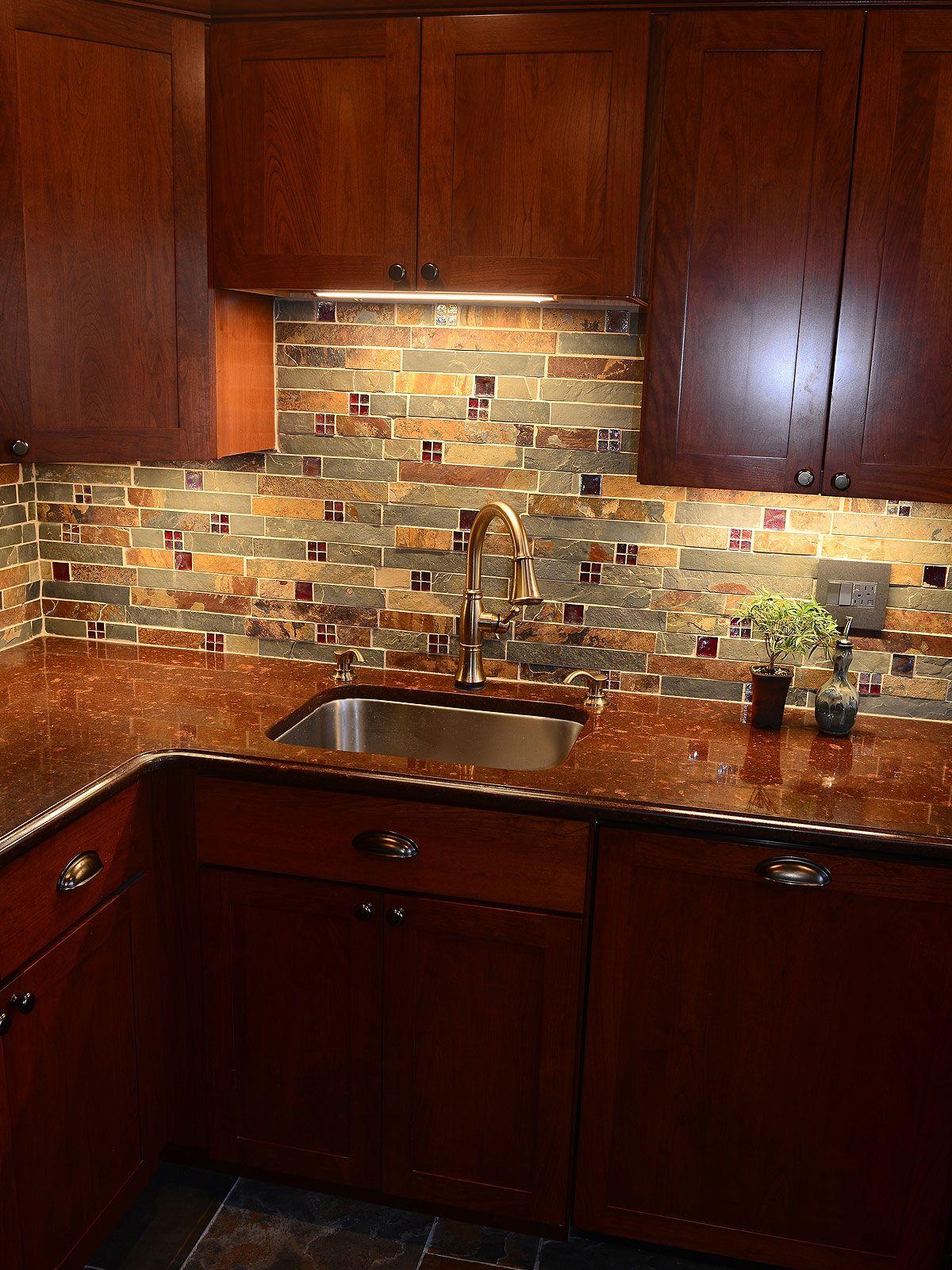 - Stunning ( Slate & Glass ) Kitchen Backsplash -