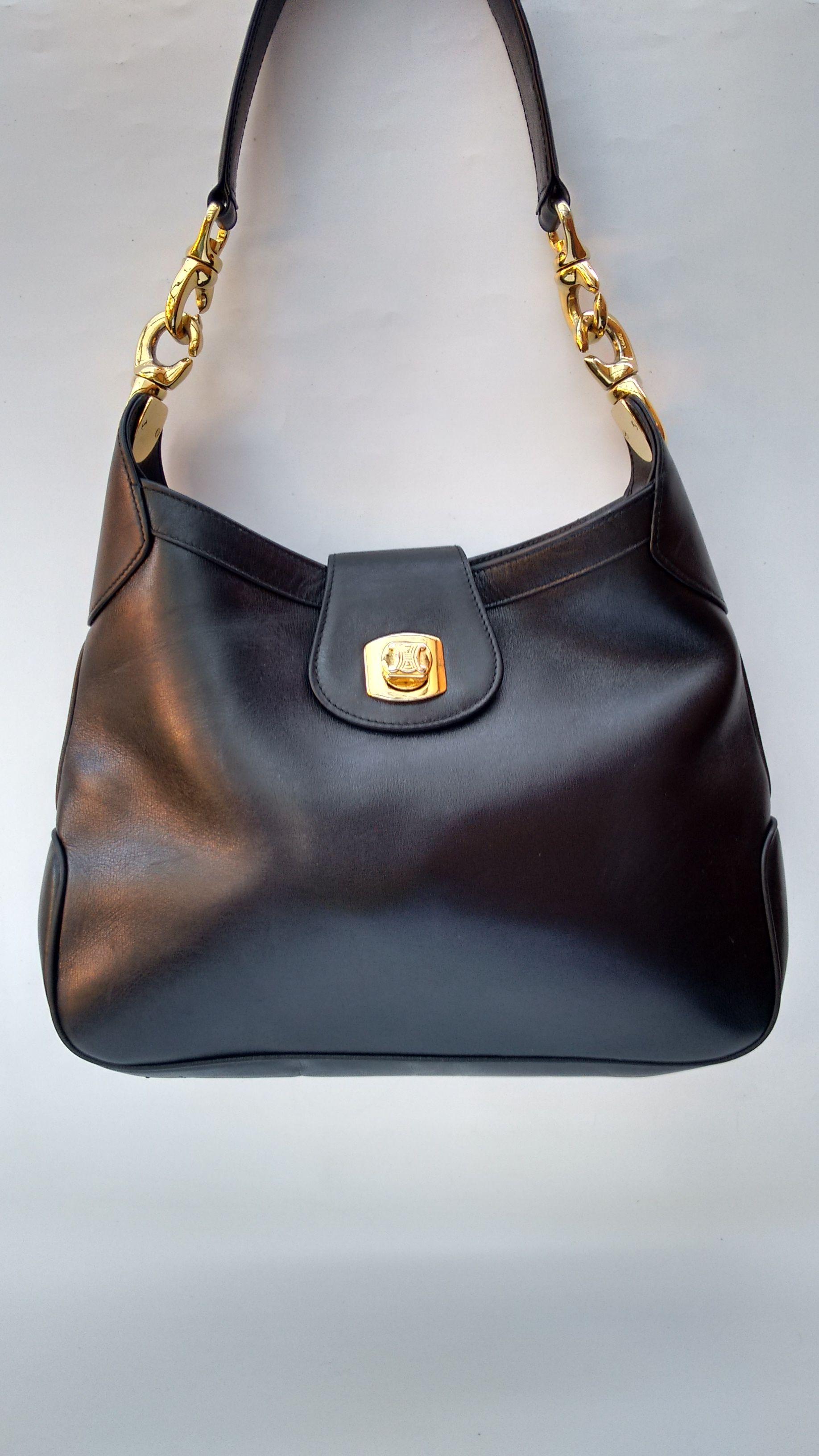 CELINE Bag. Celine Vintage Black Leather Shoulder Hobo Bag. French designer  purse. f03254de39112