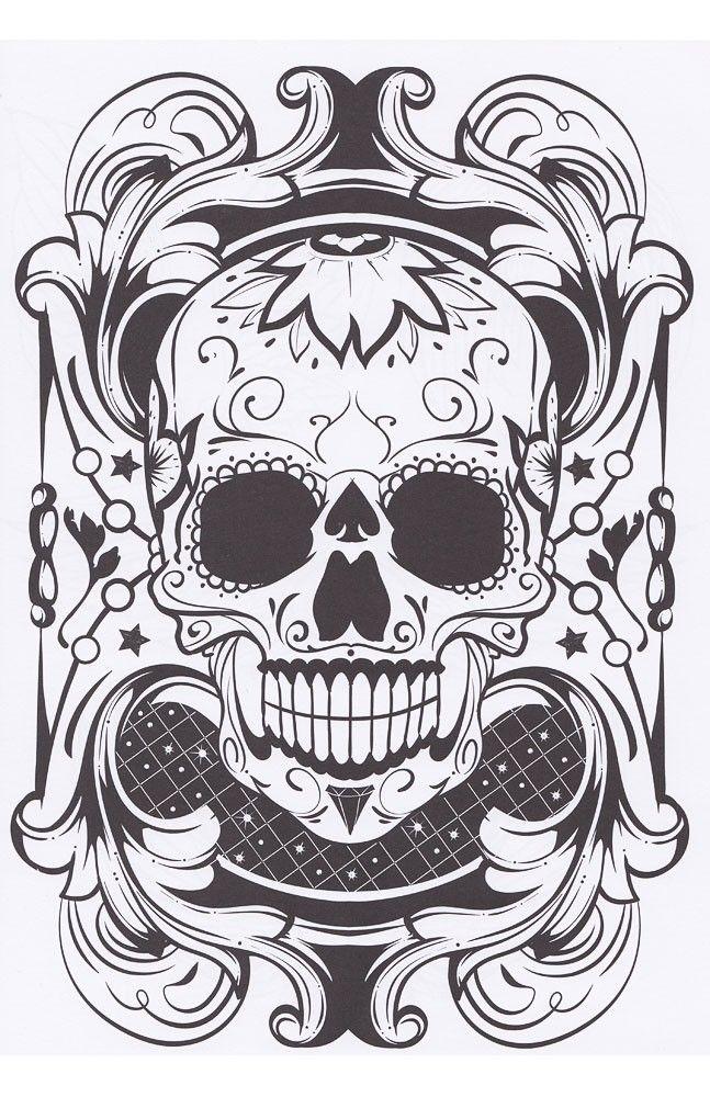 tattoo sugar skull coloring book | DIY~Font, Border & Design ...