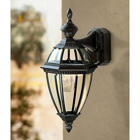 Heritage Black 21 Dusk To Dawn Motion Sensor Outdoor Light H7002 Lamps Plus Outdoor Wall Light Fixtures Outdoor Porch Lights Outdoor Wall Mounted Lighting Dusk to dawn wall lighting