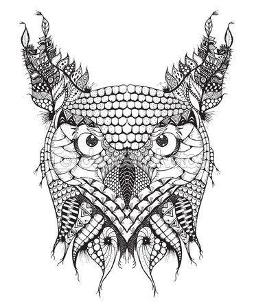 Búho Cornudo zentangle cabeza estilizada, vector, Ilustración, lápiz ...