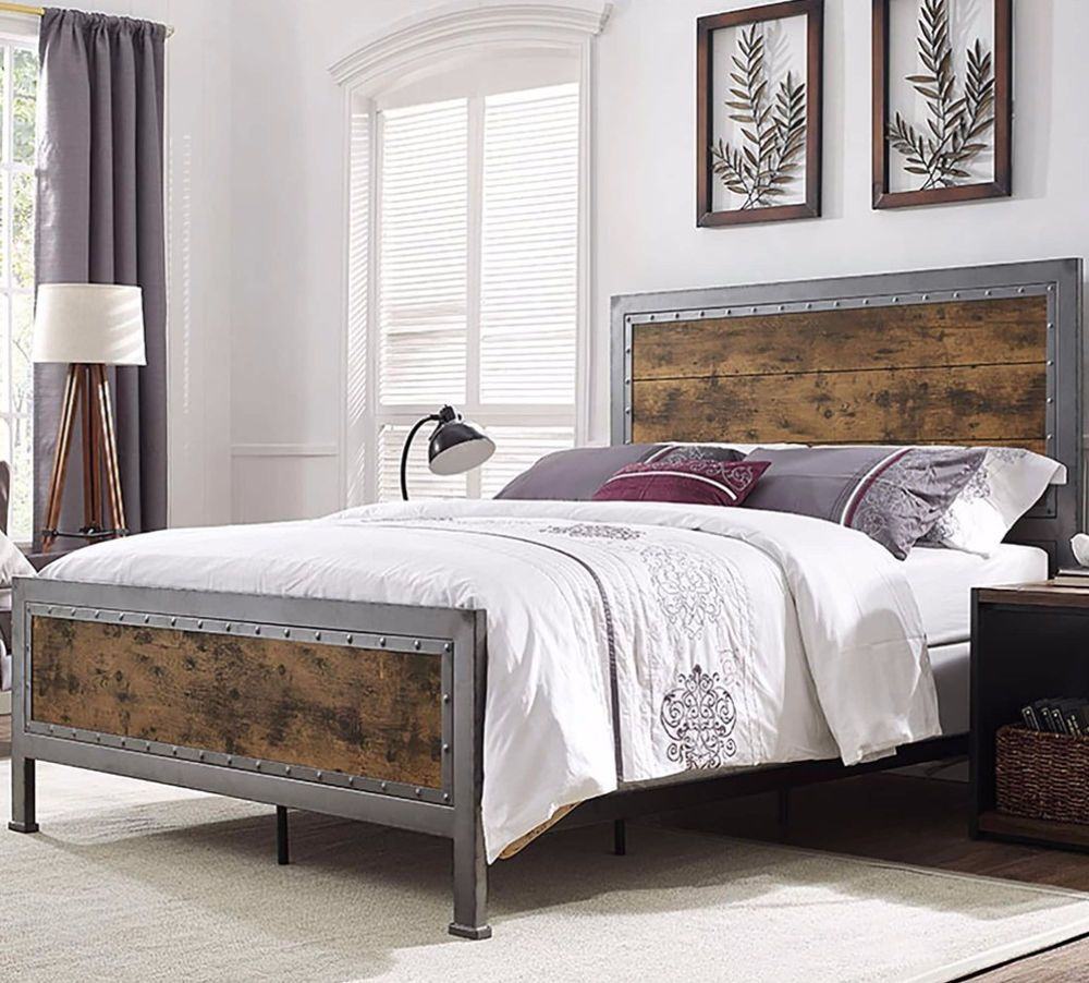 Contemporary Queen Size Industrial Brown Wood and Metal Bedroom ...