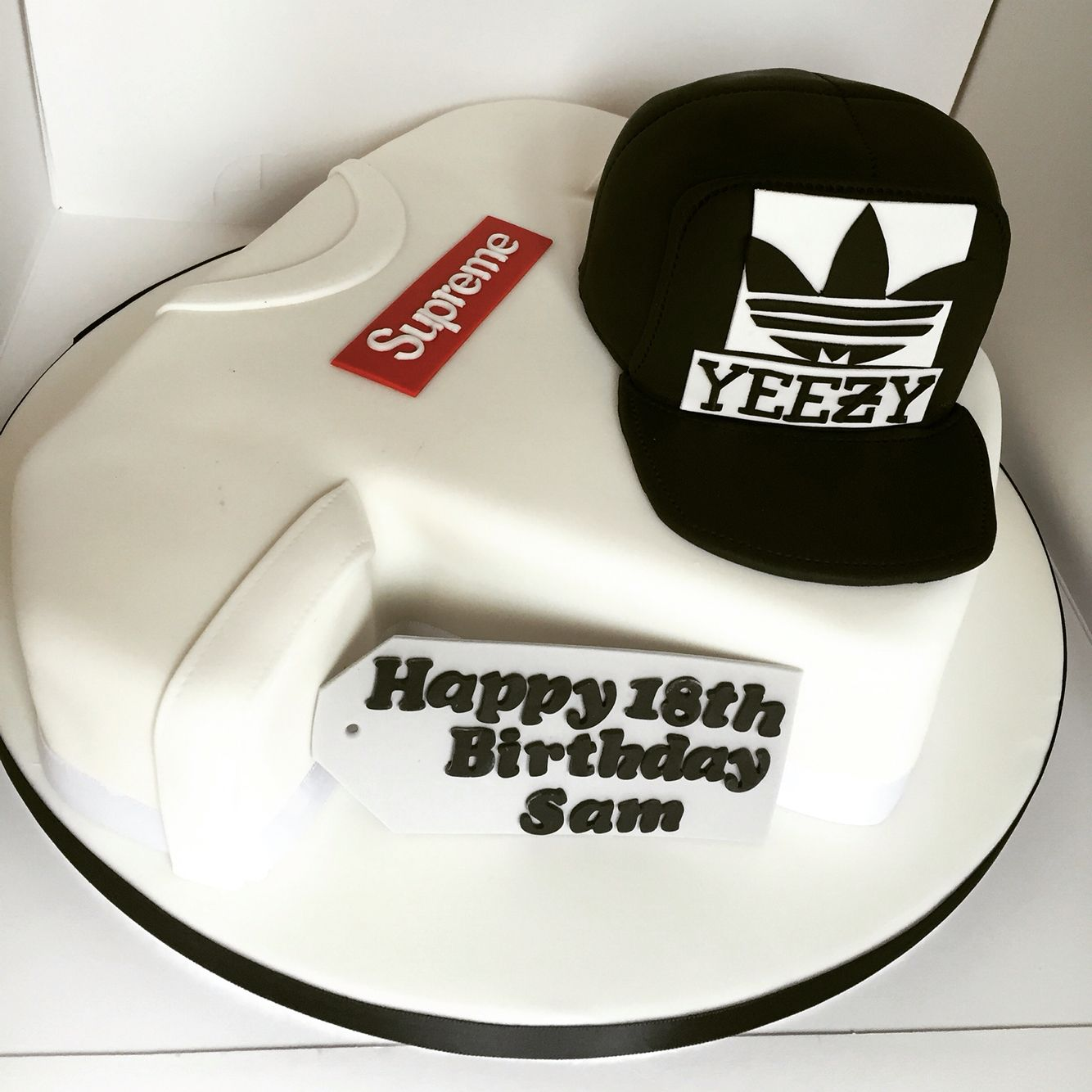 Supreme Tshirt And Yeezy Cap 18th Birthday Cake