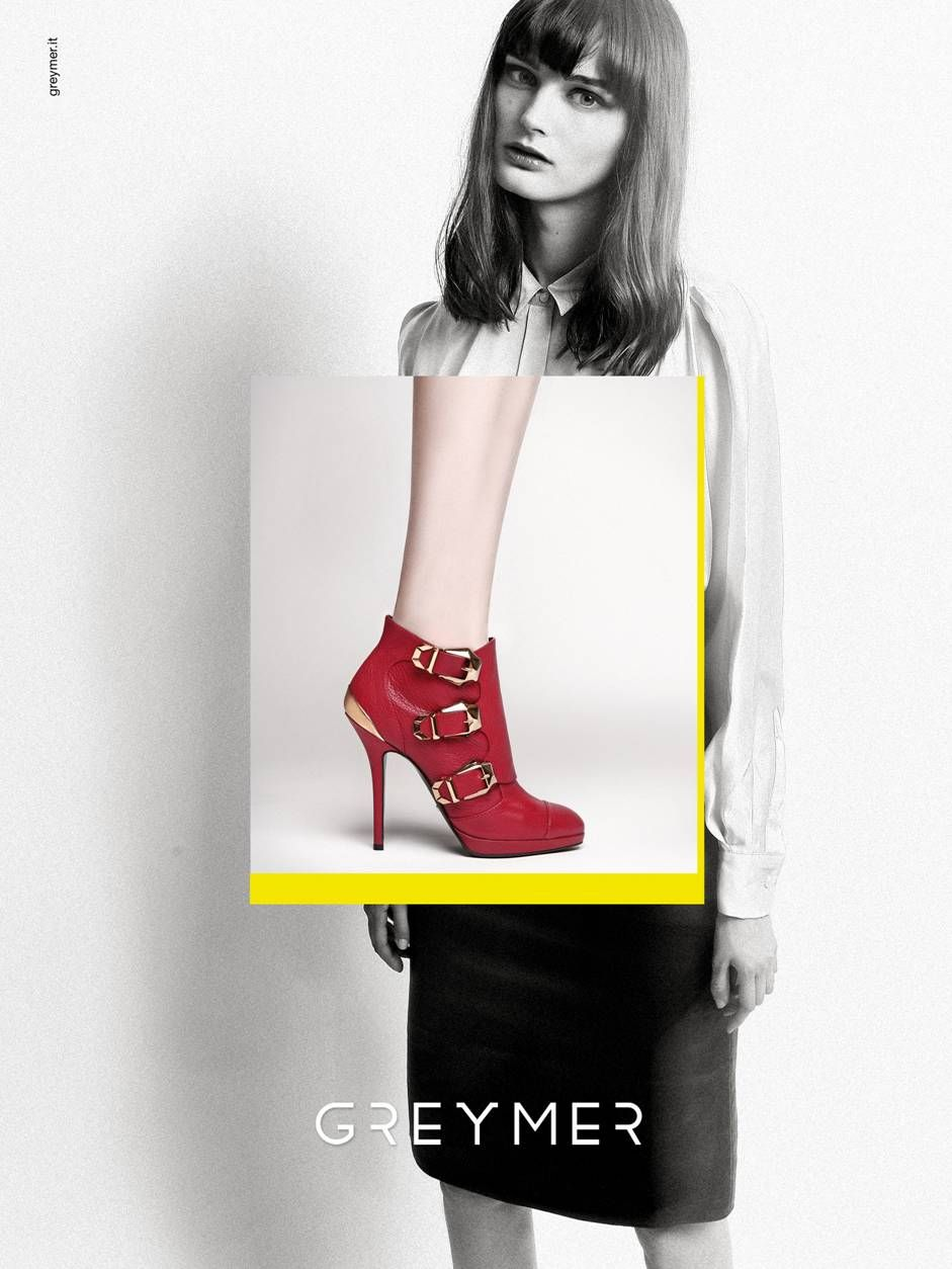FALL WINTER COLLECTION 2014 www.greymer.it shoe: 320 red model: SIBUI Ksenia Nazarennko concept: focus on the shoe framed in yellow over a woman with a biting style despite her sweet and delicate allure.