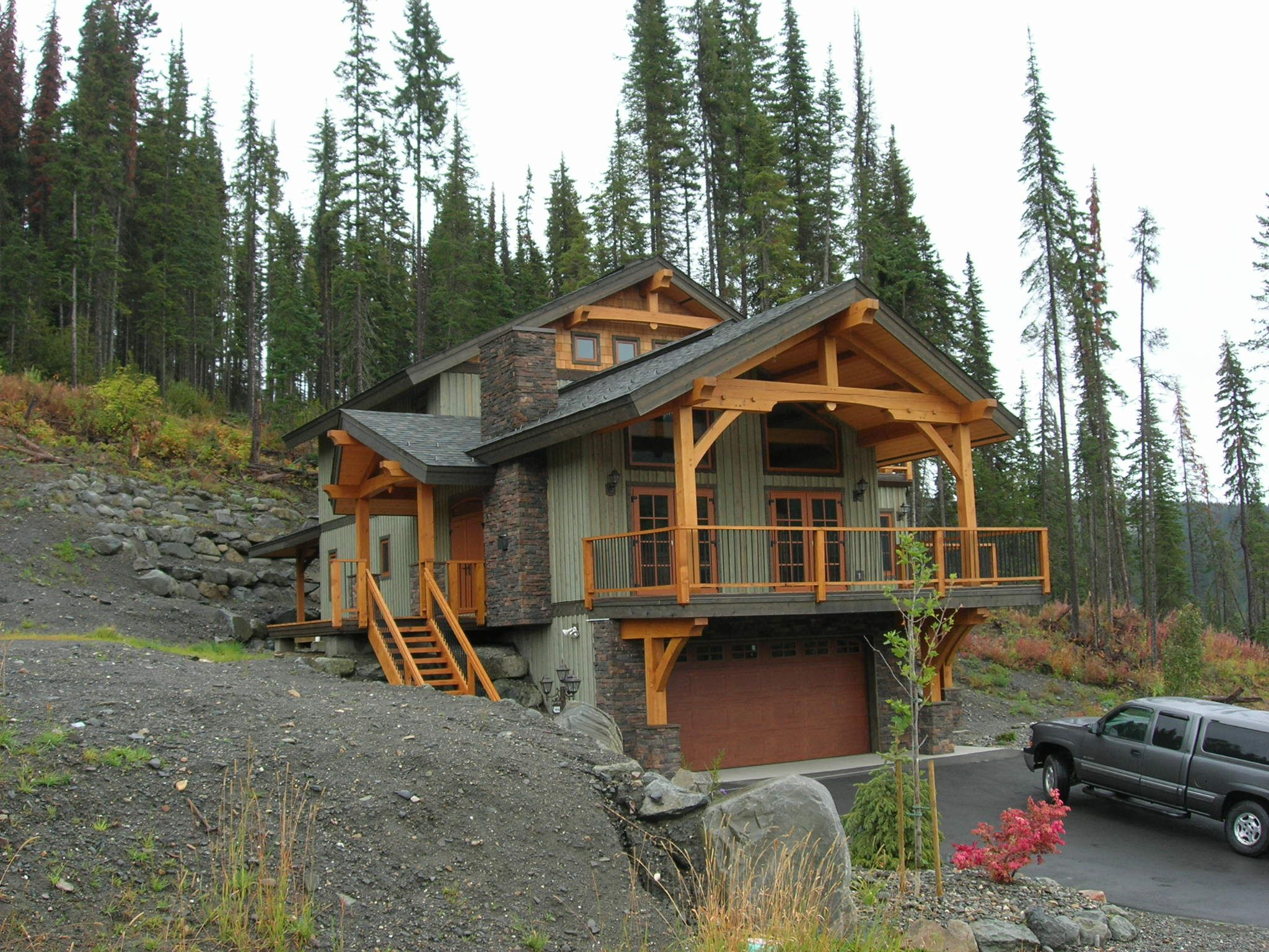 Timber Frame Chalet On Bella Vista Mountain Home Exterior House Exterior Rustic House