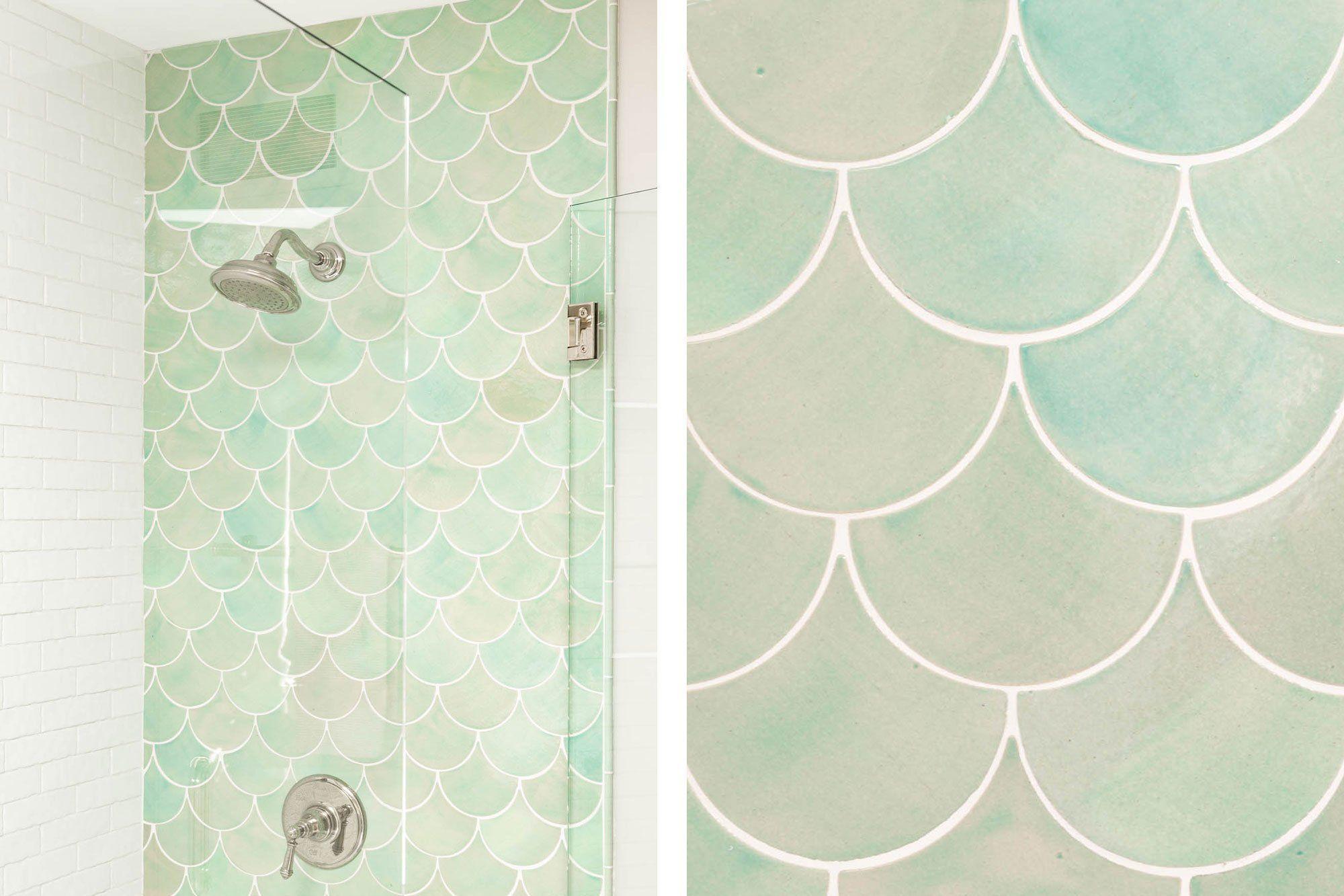 A Bathroom Oasis With Coastal Breeze Fish Scales In 2020 Bathroom Oasis Fish Tile Bathroom Scallop Tile Bathroom