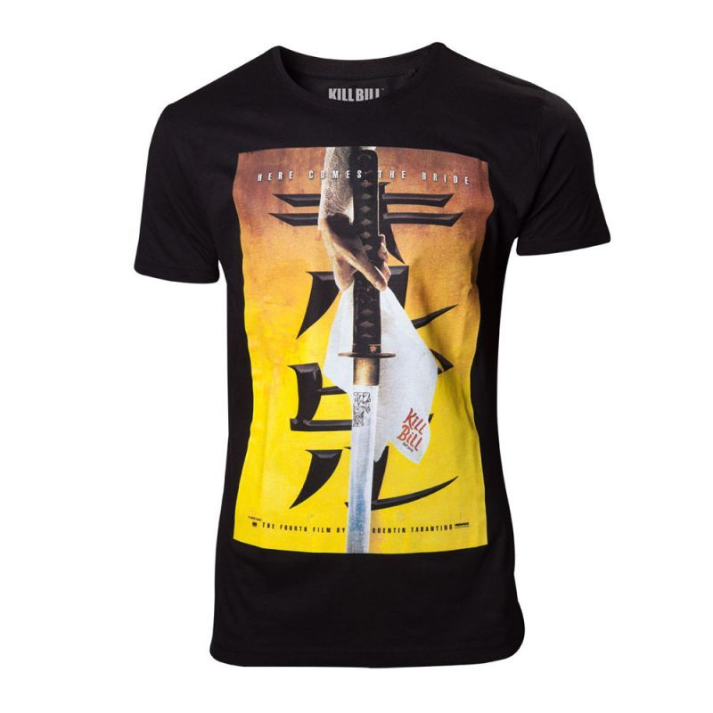 Kill Bill Here Comes The Bride T-shirt Extra This black premium quality t-shirt is made from cotton for a long lasting fit is professionally stitched and has a officially licensed merchandise Here Comes the Bridge design featuring the dangerous  http://www.MightGet.com/march-2017-1/kill-bill-here-comes-the-bride-t-shirt-extra.asp