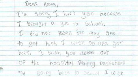 Washington Boy 9 Writes Apology to Girl He Shot