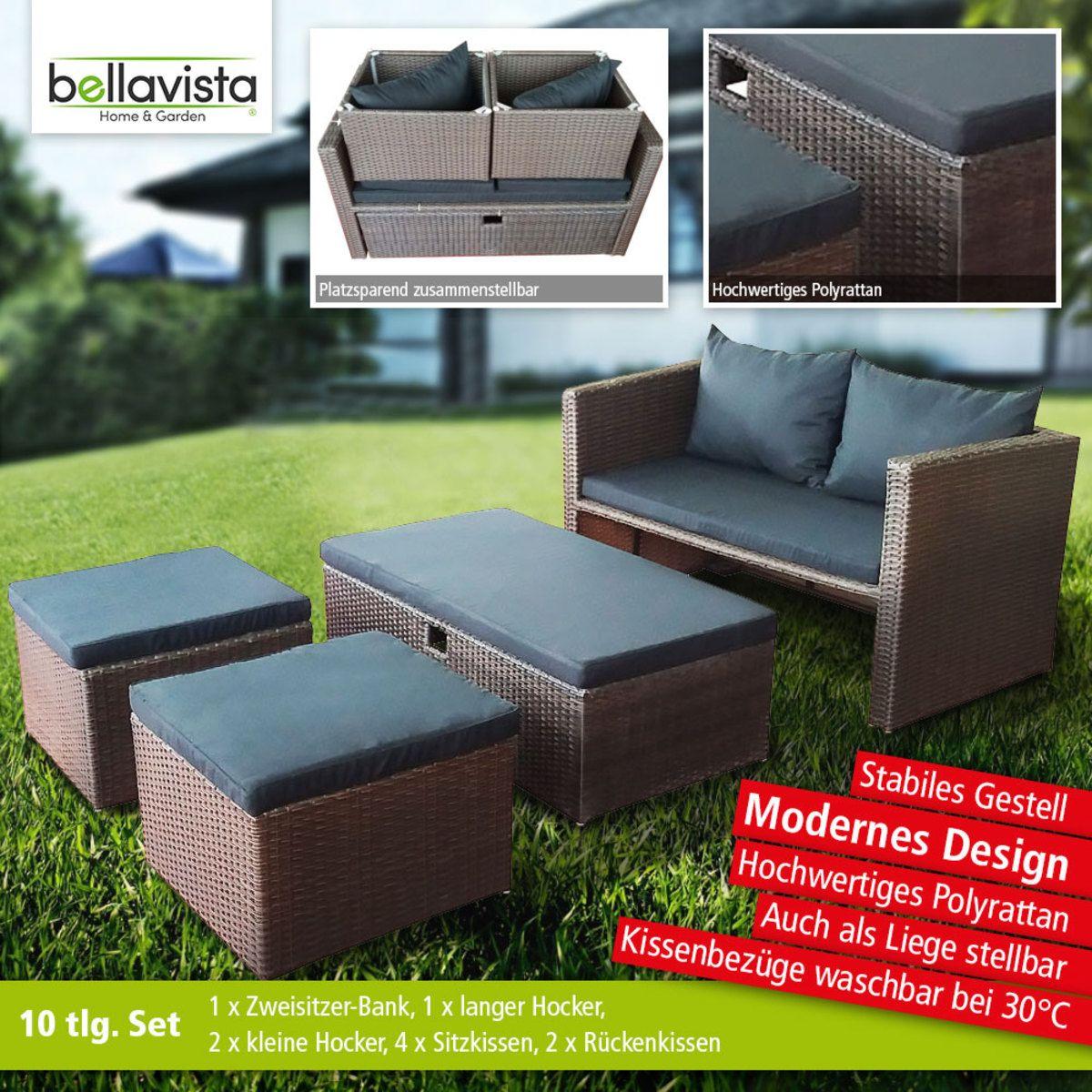 Bild 1 Von Bellavista Lounge Set Palmera 10tlg Kleiner Hocker Loungemobel Garten Sitzkissen