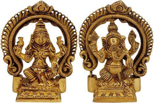 Lakshmi-Ganesha - Brass Statue
