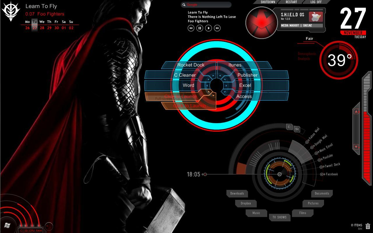 Thor 1 1 Rainmeter Skin By Dpb