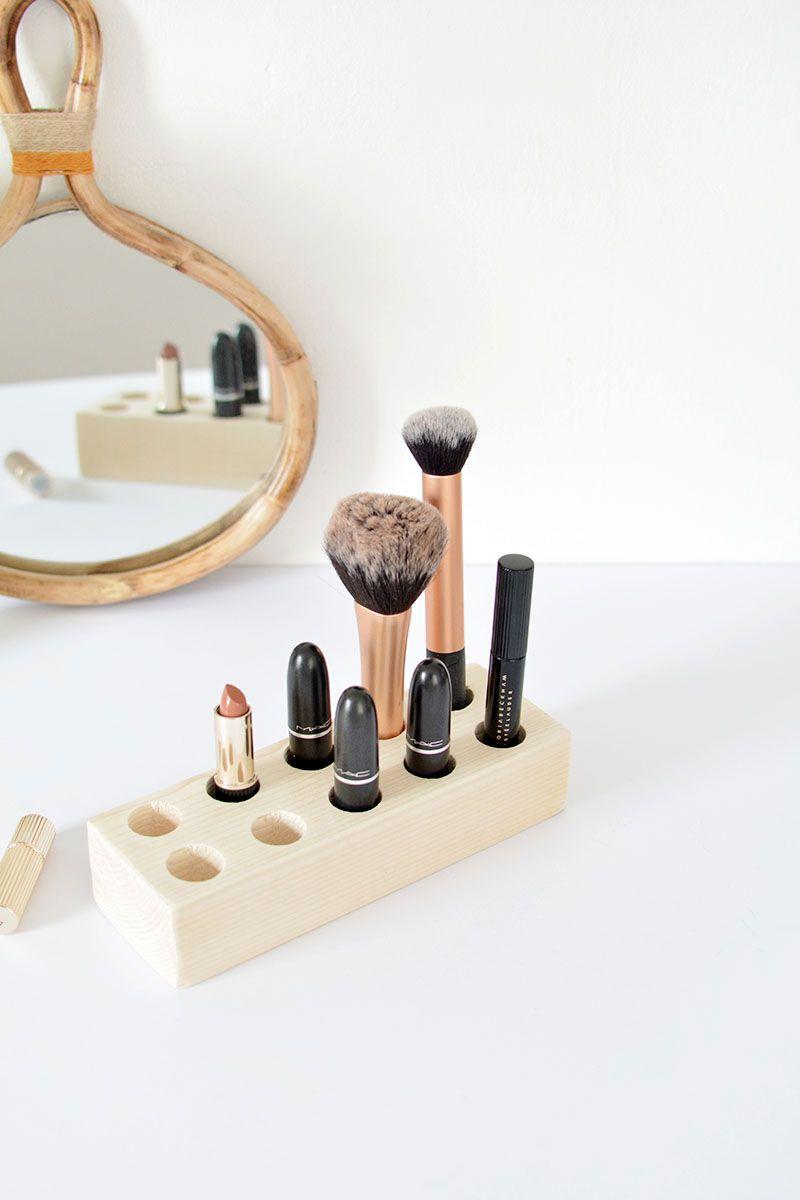 diy easy make up storage diy articulos de madera decoraci n hogar und diy. Black Bedroom Furniture Sets. Home Design Ideas
