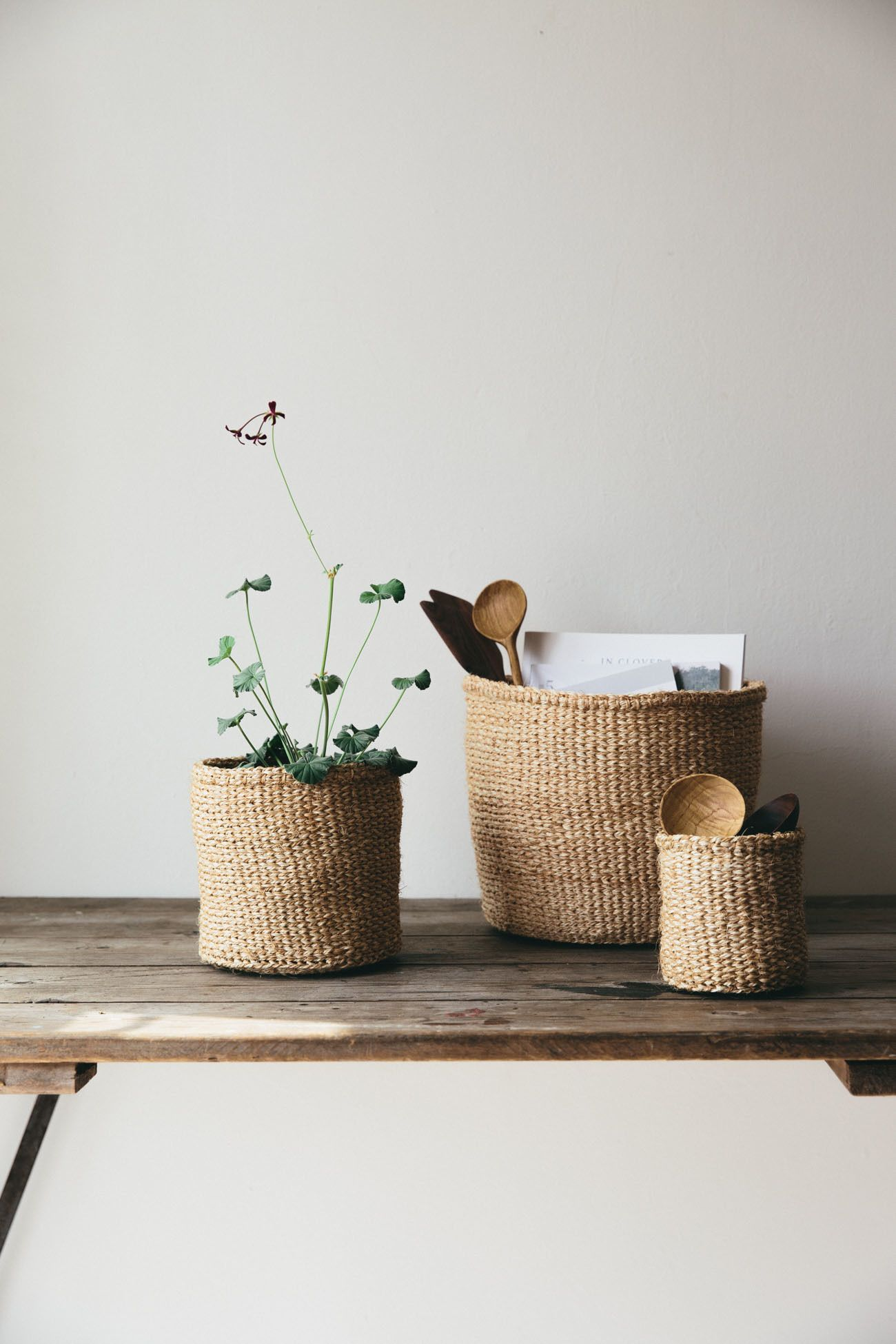 Sisal woven basket natural beautiful home office decor for Sisal decoration