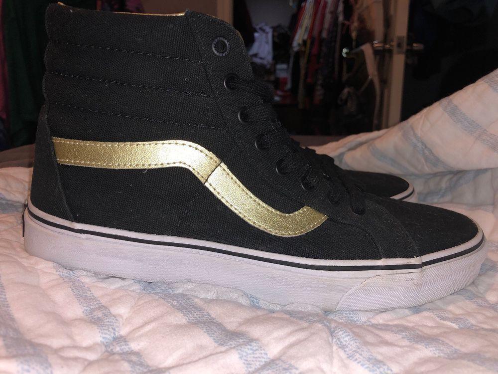 dba229dfafca5 ebay link) Limited Edition Black And Gold Vans #fashion #clothing ...