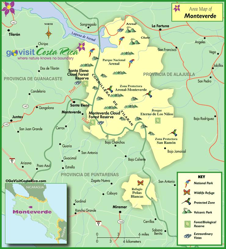 Monteverde Area Map Costa Rica Pinterest Costa rica and Travel