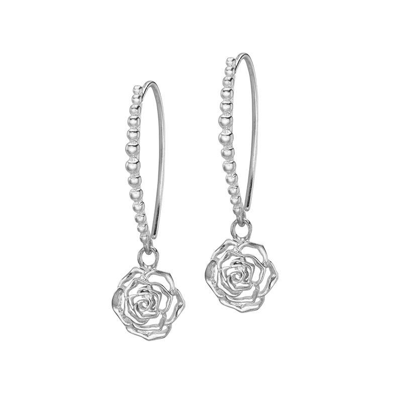 Sterling Silver Wild Rose Flower Dotty Drop Earrings Silver Drop Earrings Gold