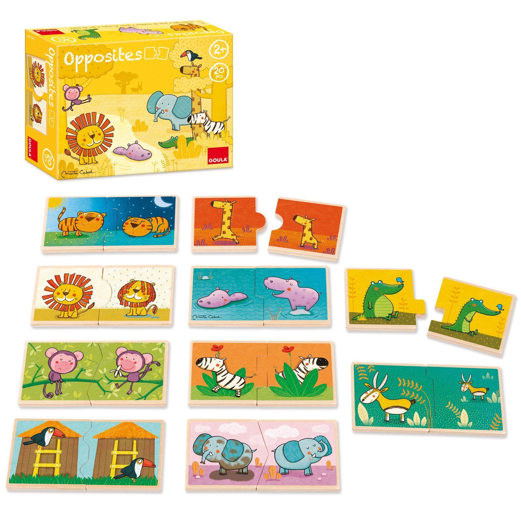 goula los contrarios con animales puzzle de madera x piezas