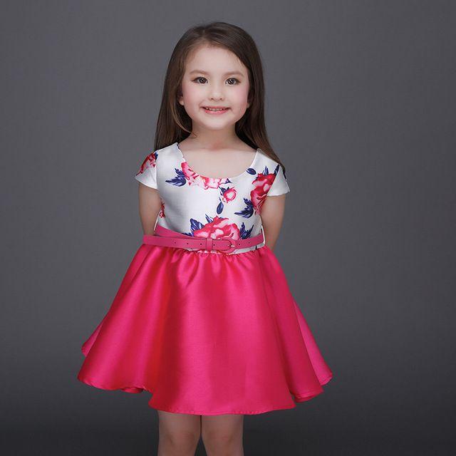 51d80af52 Summer Flower Print Girl Dress Birthday Baptism Party Dresses For ...