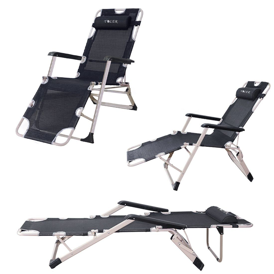 Beach lounge chair portable - Natuzy Breathable Textilene Patio Lounge Chair Portable Sturdy Folding Bed Summer Cool Beach Folding