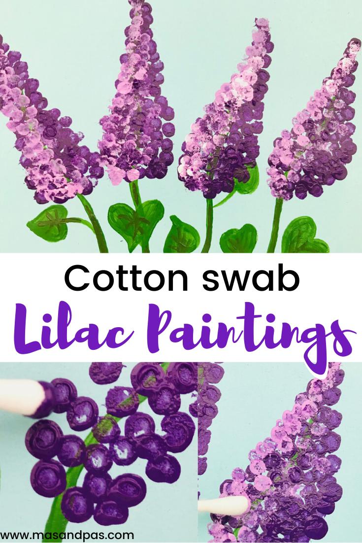 Cotton Swab Lilac Paintings | Fun Kids Crafts | Mas & Pas