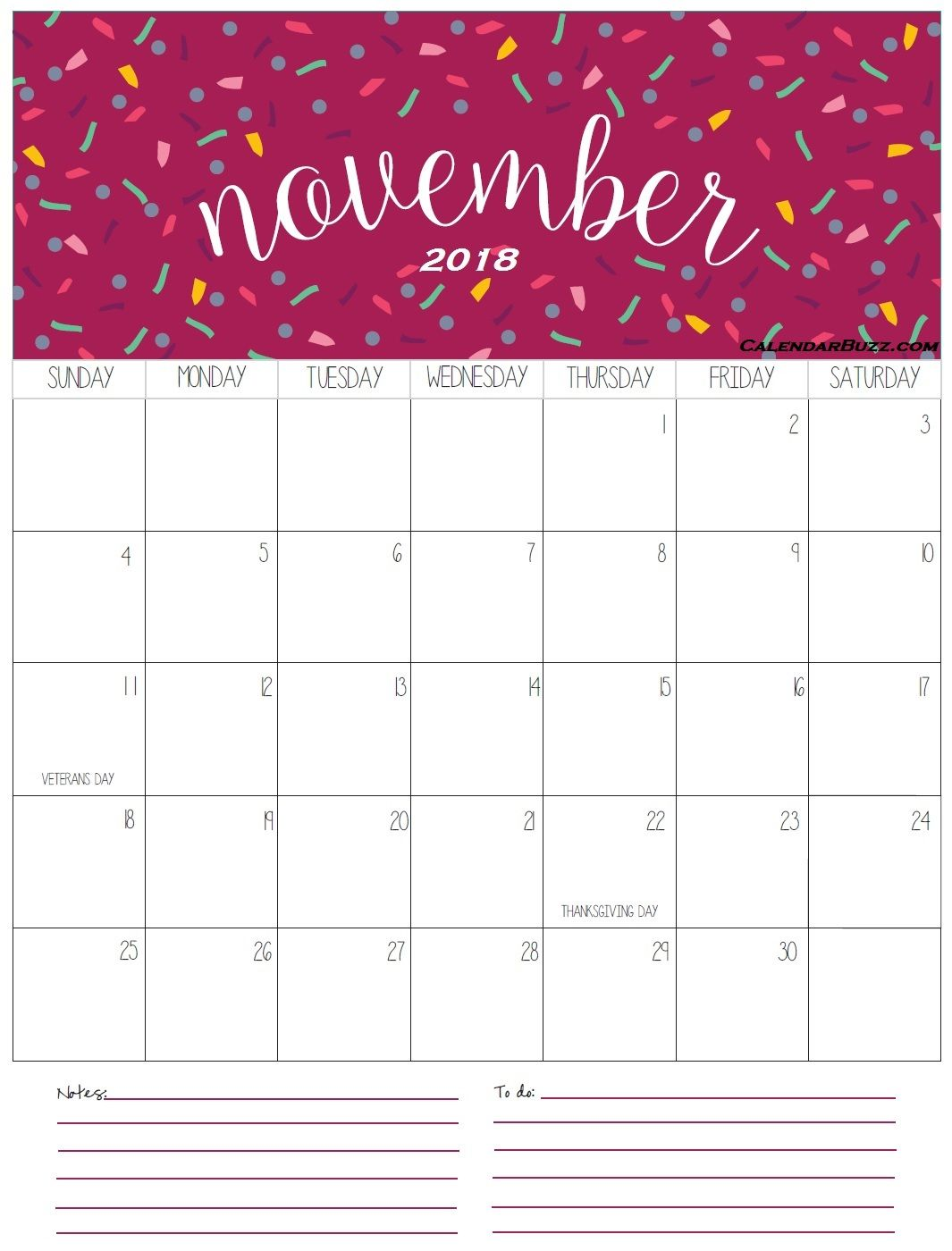 Editable PDF November 2018 Calendar with Holidays Templates Word Excel