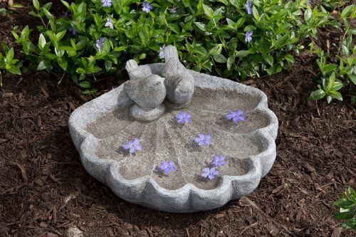 Outdoor Décor-Alfresco Home Sparrows on Shell Bird Bath >>> Visit the image link more details.