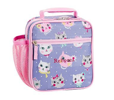 Classic Lunch Bag Mackenzie Blue Kitty Reusable Lunch